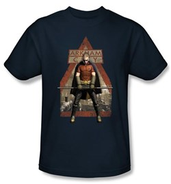 Batman T-Shirt - Arkham City Arkham Robin Adult Navy Tee