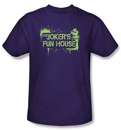 Batman T-Shirt ? Arkham City Joker's Fun House Adult Purple Tee
