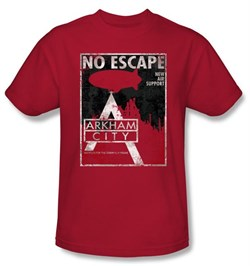 Batman T-Shirt - Arkham City No Escape Adult Red Tee