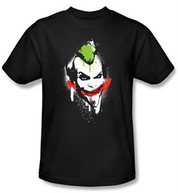 Image of Batman T-Shirt - Arkham Joker Spraypaint Smile Adult Black Tee