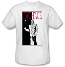 Batman T-Shirt - Two Face Adult White Tee
