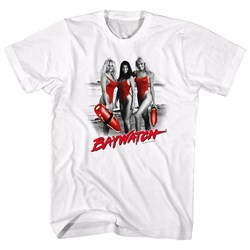 Image of Baywatch Shirt Red Accents White T-Shirt
