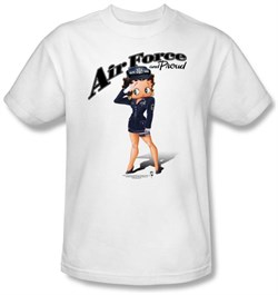 Image of Betty Boop T-shirt Air Force Boop Adult White Tee