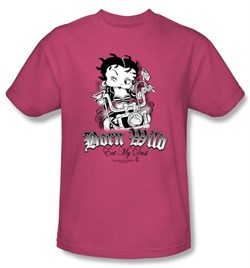 Image of Betty Boop Kids T-shirt Born Wild Youth Hot Pink Tee Shirt