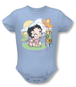 Betty Boop Baby Romper Infant Creeper Blue Butterflies Light Blue