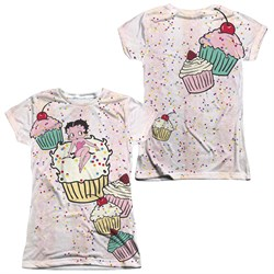 Image of Betty Boop Cake Boop Sublimation Juniors Shirt Front/Back Print