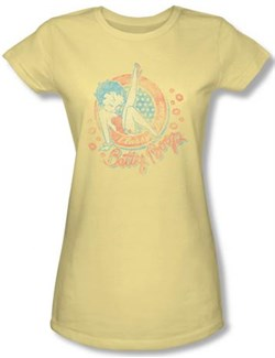 Image of Betty Boop Juniors T-shirt Classy Dame Banana Tee Shirt