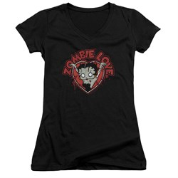 Image of Betty Boop Juniors V Neck Shirt Heart You Forever Black T-Shirt