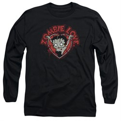 Image of Betty Boop Long Sleeve Shirt Heart You Forever Black Tee T-Shirt