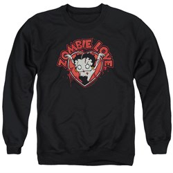 Image of Betty Boop Sweatshirt Heart You Forever Adult Black Sweat Shirt