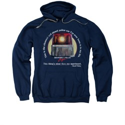 Image of Beverly Hills Cop Hoodie Sweatshirt Nicest Police Car Navy Adult Hoody Sweat Shirt