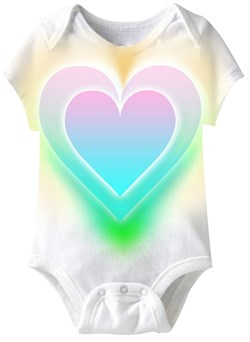 Image of Big Colorful Heart Funny Baby Romper White Infant Babies Creeper