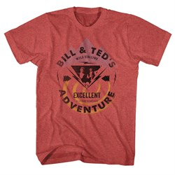 Image of Bill And Ted Shirt Bill And Ted Bolt Red Heather Tee T-Shirt