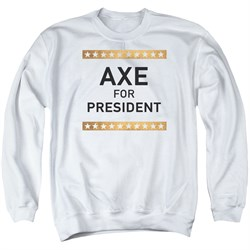 Image of Billions Sweatshirt Axe For President Adult White Sweat Shirt
