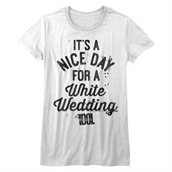 Image of Billy Idol Shirt Juniors A Nice Day For a White Wedding White T-Shirt