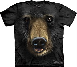 Image of Black Bear Shirt Tie Dye Grizzly Face T-shirt Adult Tee
