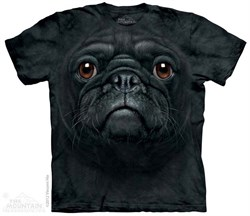 Image of Black Pug Shirt Tie Dye Adult T-Shirt Tee