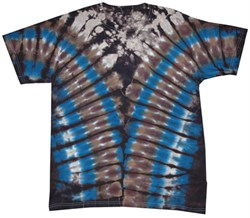 Image of Blue Brown Vee Adult Unisex V-Dye Tie Dye T-shirt Tee Shirt
