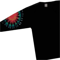 Image of Black Elbow Adult Unisex Rainbow Tie Dye Long Sleeve Shirt