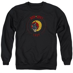 Image of Bon Jovi Sweatshirt 1987 Adult Black Sweat Shirt