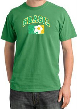Image of Brazil Soccer Shirt Futbol Pigment Dyed Tee Piper Green