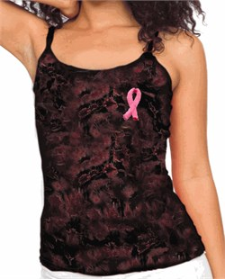 Image of Breast Cancer Awareness Ladies Tank Embroidered Ribbon Tie Dye Tanktop