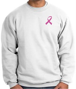 Image of Breast Cancer Awareness Sweatshirt Pink Ribbon Pocket Print White