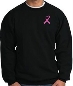 Image of Breast Cancer Awareness Sweatshirt Pink Ribbon Pocket Print Black