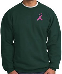 Image of Breast Cancer Sweatshirt Pink Ribbon Pocket Print Dark Green