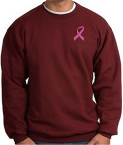 Image of Breast Cancer Sweatshirt Pink Ribbon Pocket Print Maroon Sweatshirt