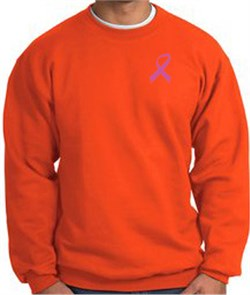 Image of Breast Cancer Sweatshirt Pink Ribbon Pocket Print Orange Sweatshirt