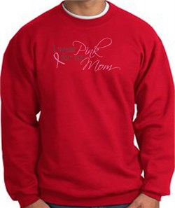 Image of Breast Cancer Sweatshirt I Wear Pink For My Mom Sweatshirt Red