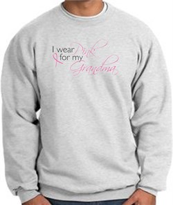 Image of Breast Cancer Sweatshirt I Wear Pink For My Grandma Ash