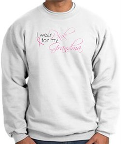 Image of Breast Cancer Sweatshirt I Wear Pink For My Grandma White