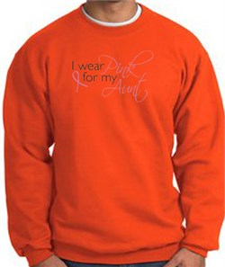 Image of Breast Cancer Sweatshirt I Wear Pink For My Aunt Orange