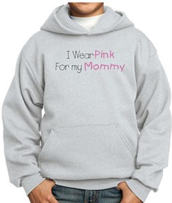Image of Breast Cancer Kids Hoodie - I Wear Pink For My Mommy Ash Hoody