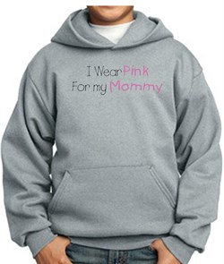 Image of Breast Cancer Kids Hoodie - I Wear Pink For My Mommy Grey Hoody