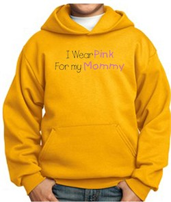 Image of Breast Cancer Kids Hoodie - I Wear Pink For My Mommy Gold Hoody