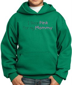 Image of Breast Cancer Kids Hoodie - I Wear Pink For My Mommy Kelly Green Hoody