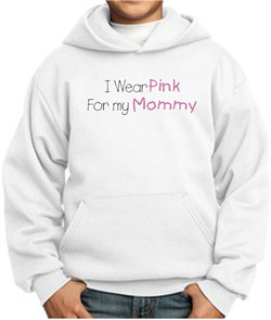 Image of Breast Cancer Kids Hoodie - I Wear Pink For My Mommy White Hoody