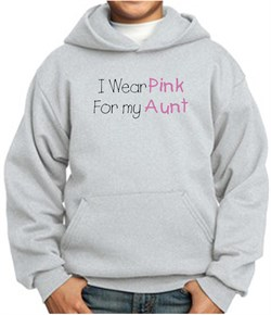 Image of Breast Cancer Kids Hoodie ? I Wear Pink For My Aunt Youth Ash Hoody