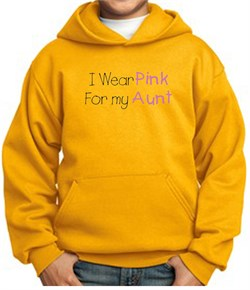 Image of Breast Cancer Kids Hoodie ? I Wear Pink For My Aunt Youth Gold Hoody