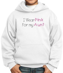 Image of Breast Cancer Kids Hoodie ? I Wear Pink For My Aunt Youth White Hoody