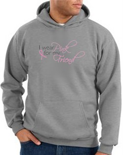 Image of Breast Cancer Hoodie - I Wear Pink For My Friend Adult Grey Hoody