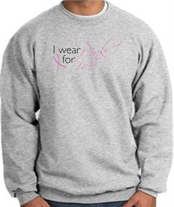 Image of Breast Cancer Awareness Sweatshirt - I Wear Pink For Me Heather Grey