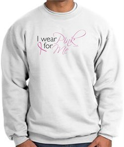Image of Breast Cancer Awareness Sweatshirt - I Wear Pink For Me Adult White