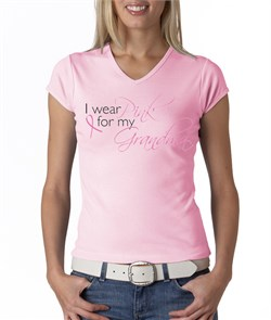 Image of Breast Cancer Ladies Shirt V-neck I Wear Pink For My Grandma Pink