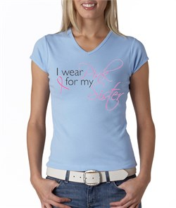 Image of Breast Cancer Ladies Shirt V-neck I Wear Pink For My Sister Baby Blue
