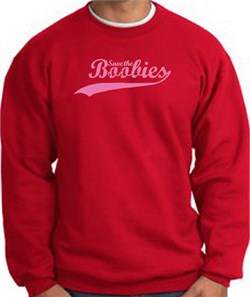 Image of Breast Cancer Sweatshirt - Save The Boobies Adult Red Sweat Shirt
