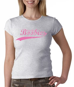 Image of Breast Cancer Ladies T-shirt - Crewneck Save The Boobies Grey Tee